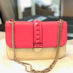 Authentic Valentino Neon Pink Glam Lock Bag